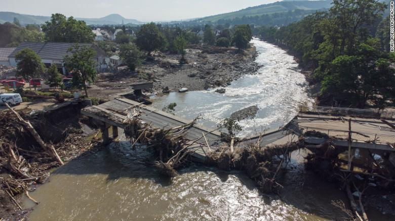 dpa/Sipa USAtop - 18 July 2021, Rhineland-Palatinate, Ahrweiler: Completely destroyed is this bridge over the Ahr in Ahrweiler after the flood disaster. (Aerial view with a drone). Photo: Boris Roessler/dpa/Sipa USA